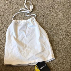White cropped halter forever 21 top